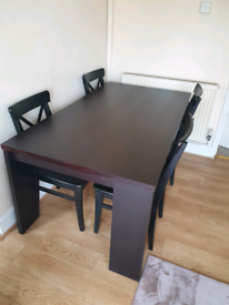 NEXT 4-6 seater dark brown dining table, with 4 IKEA chairs