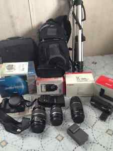 Canon camera, lenses, bags and tripod