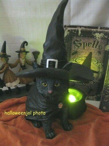 NEW BLACK CAT Witch w/ Hat Statue FIGURINE LED Light UP CAULDRON HALLOWEEN 🎃