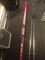 Vintage Downhill Skis Fischer Glass GT - 1970s, with poles