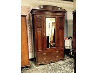 Beautiful Victorian antique mirrored wardrobe