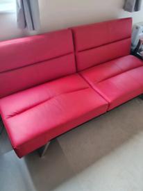 Red Sofa Bed/Futon (Pleather)