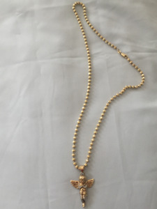 Very nice beaded gold chain and angel pendant - FOR SALE