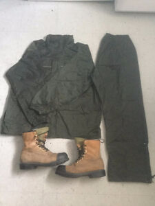 Working Boots (Steal Boots) & Wet-Skins Rain Suit