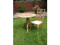 Round Solid Pine Dining Table & Four Chairs Shabby Chic Project