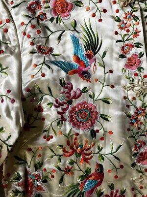 'PLUM BLOSSOMS' Chinese White Silk Satin Jacket Exotic Birds Flowers (Chinese Silk Satin Jacket)