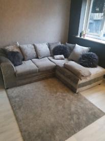 Silver crushed velvet corner sofa