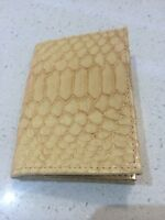 NEW Cream Gold python Leather Card Case Wallet women's