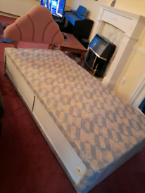 Single Box Bed with Headboard and Storage FREE