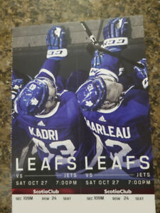 Jets vs Maple Leafs - Sat. Oct 27th, 7PM (REDS JUST OFF CENTER)
