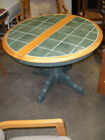 Solid wood & Green Tiled Round Pedistal Table with 2 Leafs
