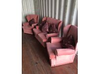 Pink Highback 2 Seater Sofa & 2 Chairs. Good Overall Condition. Can Deliver