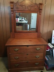 Antique Dresser with mirror  and Dry Washstand