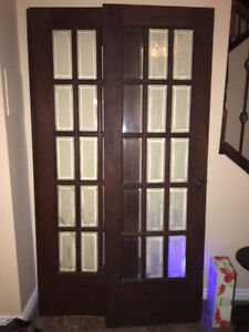 Pair of Antique Oak Veneir French Doors