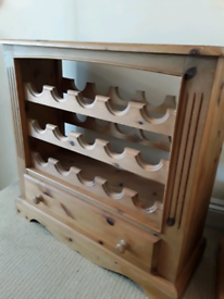 Solid Wood wine rack with drawer