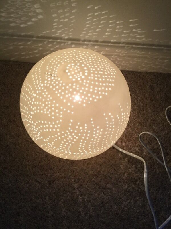 Unusual zen circular white ceramic lamp with cut out for Dining chairs t k maxx