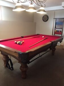 Solid Oak Slate Pool Table & Accessories