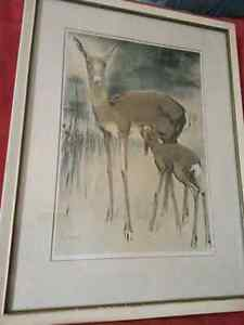 "Rare painting"" DEER WITH YOUNG"""