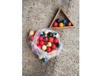Bag of billiard and snooker balls