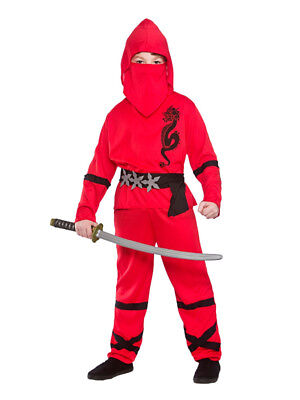 Samurai Kids Kostüme (Boys Power Ninja Japanese Samurai Warrior Child Kids Fancy Dress Costume Outfit)