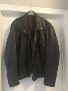 Mens Brown Leather Motorcycle jacket XXL