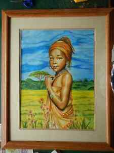 "original ""African Girl"" SOLD painting and commissions."