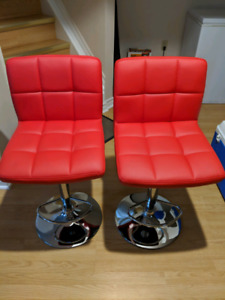 Red leather bar stools with adjustable height