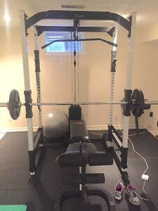 York FTS Power Cage with Bench and Weight Stack