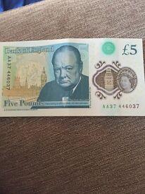 RARE £5 note AA37