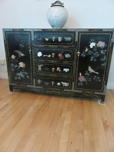Black laquer Chinese buffet hutch