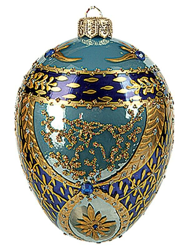 Bonbonniere Faberge Inspired Egg Polish Glass Ornament  Easter Decoration