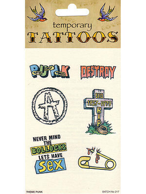 Pack of 6 Punk Rock Theme Fake Temporary Tattoos 70s 80s Fancy Dress Accessory (Punk Themen Kostüm)