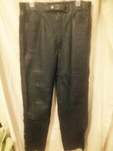 Pair of Men's First Gear Black Leather Motorcycle Pants W38L34