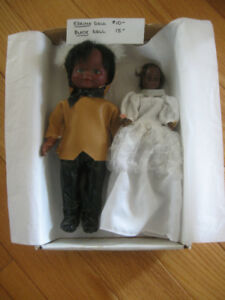 TWO VINTAGE DARK-SKINNED ESKIMO / BLACK COLLECTIBLE DOLLS