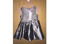 New with tags. 12-18 months girls party dress Silver