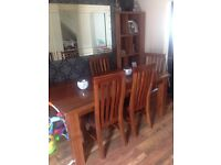 Solid acacia wood table/chairs