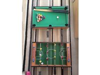 """2 X 20"""" x12"""" games tables inc football and snooker"""
