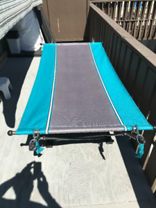 portable folding cot with UV canopy