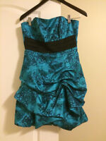 Le Château Teal and Black Strapless Short Dress