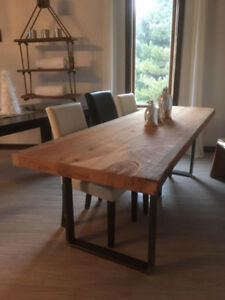 table en bois de grange live edge madrier de 3''