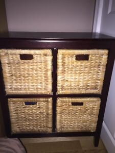 Set (2) of wicker and wood dressers