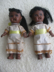 PAIR of ADORABLE IDENTICAL TWIN NATIVE AMERICAN DOLLS