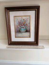 Framed spring floral print art work