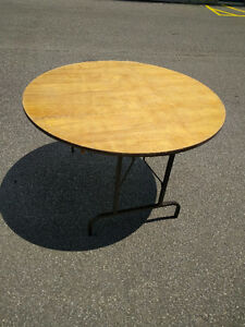 "Folding tables 48""circular plywood top,used, rectangl 6',4'x2.5'"