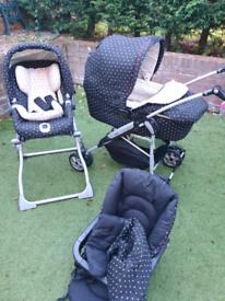 Mama & papas travel system pram, pushchair, moses basket & car seat