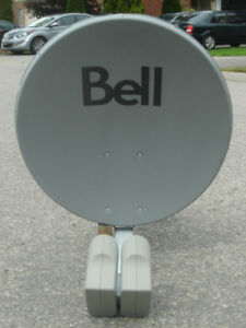 "LIKE NEW 22"" BELL SATELLITE DISH + DUAL LNB HEADS & SW44 SWITCH"