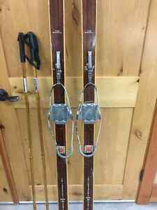 Antique cross-country skis, bindings & bamboo poles