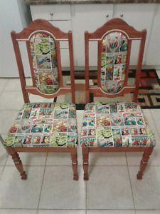 Two custom made Marvel Avengers dining room chairs.