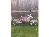"""Girls pink and white mountain bike, all working good, 20"""" for age 7 to 11yrs"""