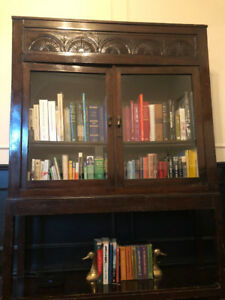 Antique Bookcase/ Display Case with Beautiful Carved Design
